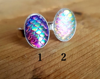 Mermaid Fish Scale Adjustable Ring, Silver, Christmas Gift