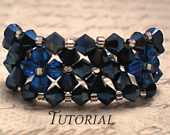 Tutorial PDF Right Angle Weave Swarovski Crystal Diamond Banded Bracelet, Instant Download