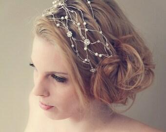 Rhinestone Flower Pearl Hair Wrap