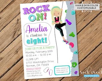 Climbing Wall Invitation, Rock Climbing Invitation, Rock Wall Climbing Party, Climbing Party, Digital Printable Birthday Invitation