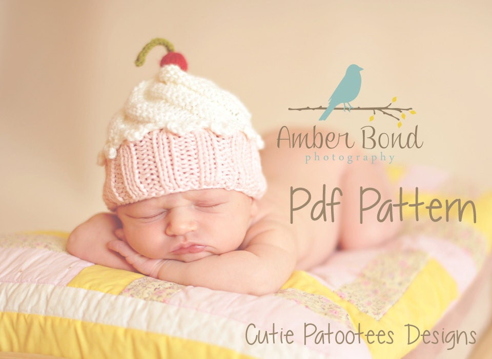 Cute as a Cupcake Hat PDF Knitting Pattern for Newborn, baby, and ...