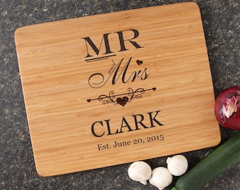 Personalized Wedding Gift, Mr and Mrs Personalized Cutting Board, Engraved Bamboo Cutting Board, Mr. and Mrs. Gift, Housewarming-15 x 12 D21