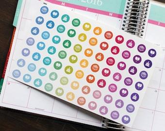 Birthday Planner Stickers Erin Condren Life Planner (ECLP) - 77 Birthday Dots Half Inch Stickers (#5003)