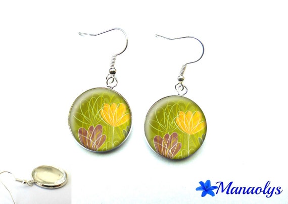 Purple and yellow flowers on green background, 2026 glass cabochons earrings