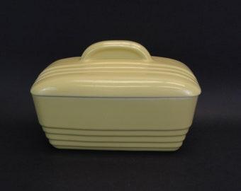 Vintage Hall Yellow Ceramic Rectangular Casserole Dish with Lid (E10563)