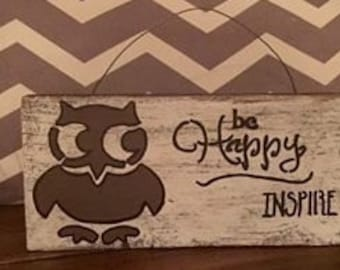 Small Owl Personalized Reclaimed Wood Quote Sign