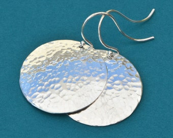 Silver Disk Earrings, Silver Circle Earrings, Dangle Earrings, Silver Jewelry, Hammered Earrings, Hammer Disk Jewelry, Gift For Her