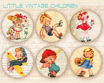 Vintage children circles Printable download on Digital collage sheet for bottle caps, jewelry making, scrapbooking