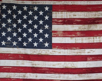 REMNANT--Distressed American Flag Print Pure Cotton Fabric--By the Panel
