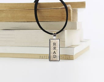 Read Necklace - Bookworm for Her - Rectangular Pendant - Leather - Bookworm Gifts - Read Pendant - Book Lover Jewelry - Book Charm - (M8115)