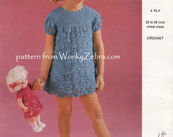 Vintage Crochet Girls Dress Pattern PDF B088 from WonkyZebraBaby