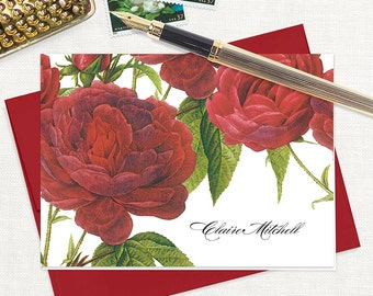 personalized stationery set - DARK RED ROSES - set of 8 folded note cards - stationary - floral - botanical - flower - red envelopes