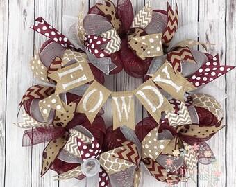 Howdy Aggies Wreath, Texas A&M Wreath, Aggies Wreath, Aggies Alumni, A and M Grad