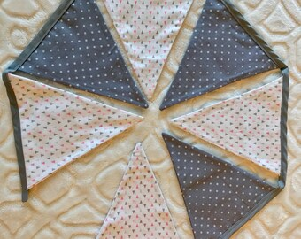 Fabric Bunting Banner. Baby Girl Bunting . Baby Shower Decoration. Baby Bedroom Decoration. Flag Garland.