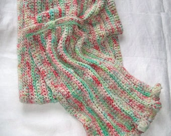 """60"""" Celery and Rose OOAK scarf with loop soft as butter SW Merino Nylon Green Tan mint pink coral L85"""