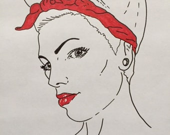 Girl Power, lady in red #2, A5, portrait of a woman, line drawing