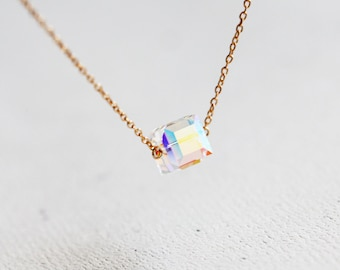 Crystal Cube Necklace - rainbow colored crystal cube necklace, sterling silver or 14k gold filled or sterling silver