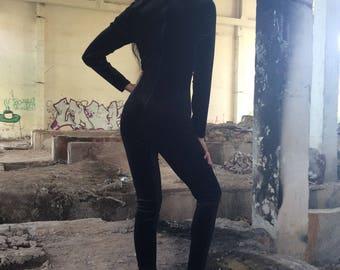 Black Velvet Cat Suit, Velvet Body Suit, Velvet Overalls, Catwoman, Cosplay