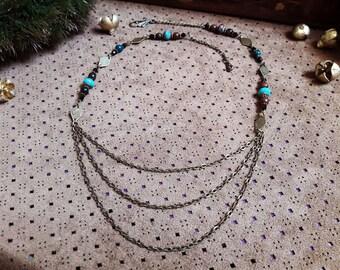 Necklace * Earthsea * bronze, Jasper, Obsidian