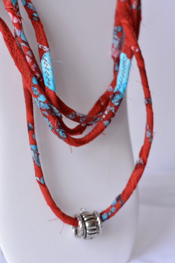 Beach Statement Necklace, Infinity Red and Turquoise Fabric Necklace, Handmade Boho Fabric Scarf, R100, Modern Women Fashion Jewelry