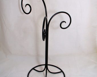 Wrought Iron Three Ornament Stand Black