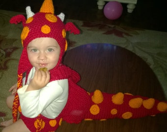 crochet dragon costume for child boys or girls