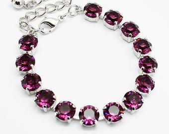 Bracelet Rhodium, Amethyst Bracelet, Eggplant Purple Swarovski Crystal Bracelet, Rhinestone Chaton Bracelet, Bridal Bridesmaids Wedding