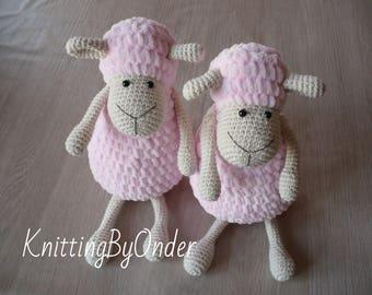 Pink stuffed lamb Crochet stuffed sheep Plush lamb Crochet amigurumi sheep Crochet animals cozy sheep Gift idea Nursery decor Crochet animal