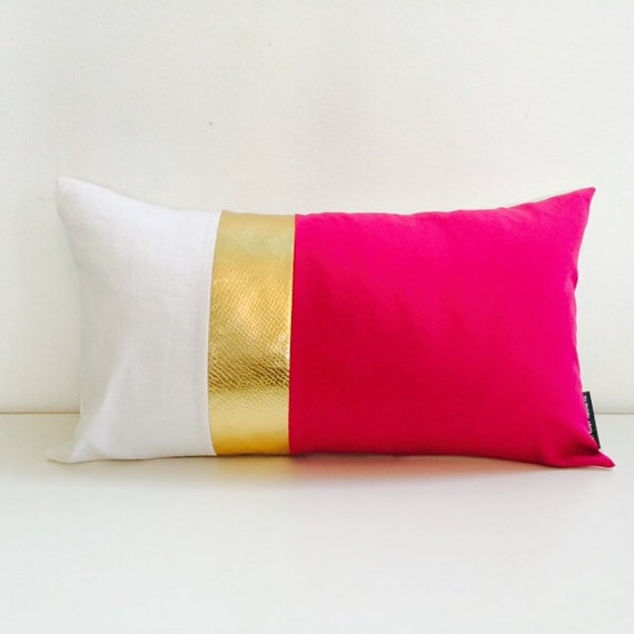 "Hot Pink Pillow Cover 14""x24"" Cushion Lumbar Fuchsia Metallic Gold White Linen Modern Glam Fabric Panels Wide Large Stripes Colorblock"