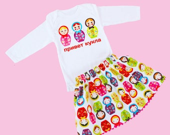 Matryoshka Skirt Set Custom Russian Nesting Doll Retro 6/12 month to 2/3T