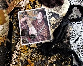 Fabric and Embellishment Inspiration Kit, Textile Art Kit, Fabric and Doily Kit, Mixed Media Art Kit No. 1