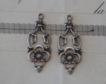 PAIR Solid SIlver Antique French Art Nouveau Earring Pendant Drops