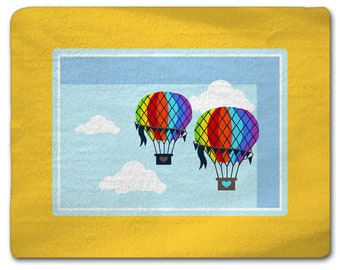 Personalized Chevron and Hot Air Balloon Theme Plush Fuzzy Area Rug -Size 48x30, 60x48, 96x44,96x60  - any color - any design