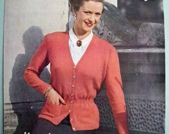 Vintage 1940s 1950s Knitting Pattern Women's Cardigan 40s 50s original pattern - Lavenda No. 136 UK - longline cardigans classic style