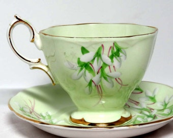 Royal Ablert Bone China Tea Cup Saucer Laurentian Snow Drop Home and Garden Kitchen and Dining Tableware Drinkware Coffee and Tea Cups