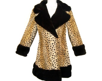 Vintage Leopard Coat, Faux Fur, Late 1950s to Early 1960s