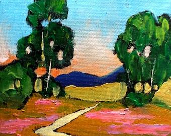 Miniature Impressionist Painting 4x4 Plein Air Landscape California Eucalyptus MEADOW WILDFLOWERS Lynne French