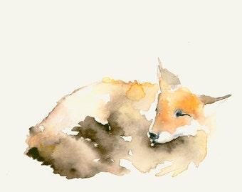 Fox Art Watercolor Print