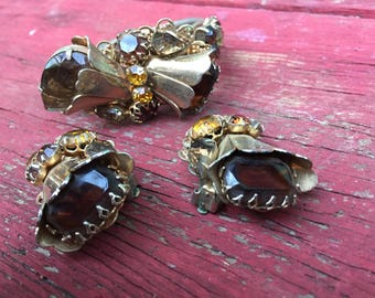 Vintage Gold/Amber Art Nouveau Floral Bracelet with Matching Earrings