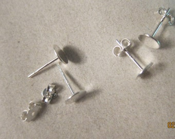 Sterling Silver Earstuds with 6mm Round Flat Pad - Available in 4, 6, 10 & 20 Pair Pkgs and also in Larger Pkgs