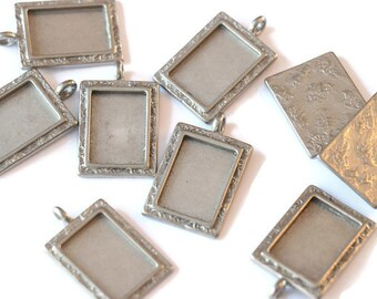 Piece of Tin rectangle pendant textured for making jewelry LoB-56 (10 pieces)