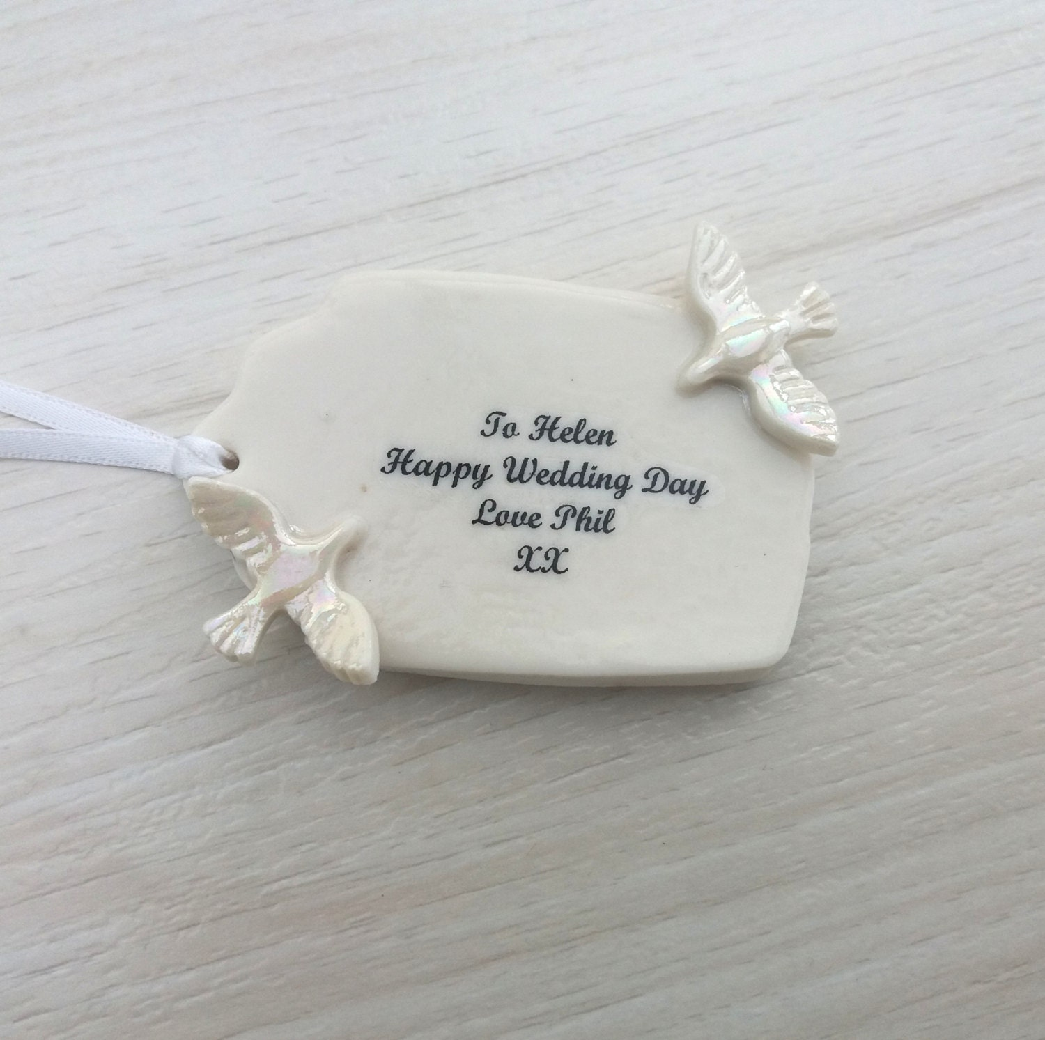 Personalised Wedding Gift Tag - Unique Wedding Gift Tag - Ceramic ...