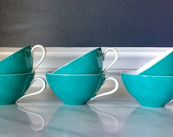 Set of 6 Vintage Teal Blue Tea Cups Made in Japan | Vintage Tea Cups | Blue Tea Cups |