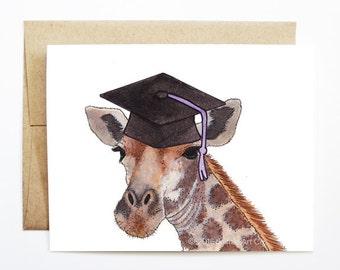 Graduation Card - Giraffe, Grad Card, College Graduation, High School Grad, Congrats Grad, Congrats Card, Cute Animal Card, Giraffe Card