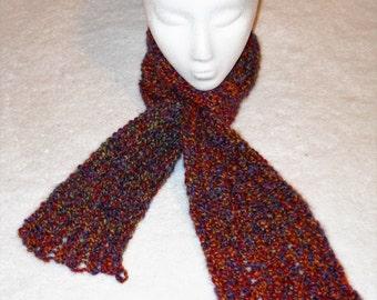 Knit Rainbow Jewel-tone Winter Scarf (S-01)