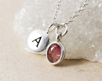 Watermelon Pink Tourmaline Necklace – Name Initial Charm