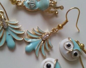 Aqua blue, earrings, miniature, choose owl, chair, art deco feather, by NewellsJewels on etsy