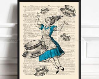 Wonderland Madness, Alice Poster Gift, Lewis Carroll, Mystery Art Poster, Alice Dictionary Art, Girl Xmas Gift, Girls Nursery, Teen Girl 356