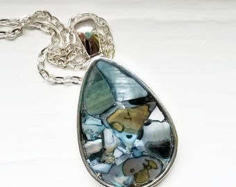 Abalone shell pendant necklace, silver jewelry, teardrop charm, resin pendant, beach, seashells, nature jewelry, shell, summer style, silver