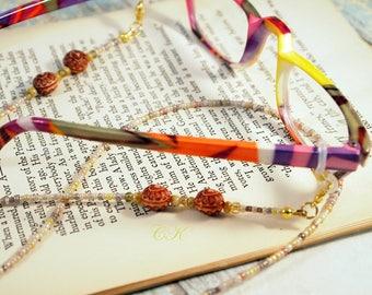Earthy Color Beaded Eyeglass Lanyard Glass Seed Beaded Eyeglass Necklace Beaded Eyeglass Holder Sunglass Leash Readers Lanyard CKDesignUS